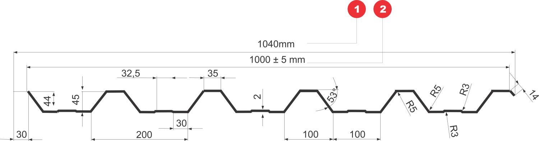 Tablă cutată T45